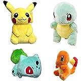 PlushOsh Pokémon, Plush Go Pikachu, Bulbasaur, Squirtle, Charm Ander, Gift Plush Toys, Poke Mone Stuffed Animals, 4 Piece