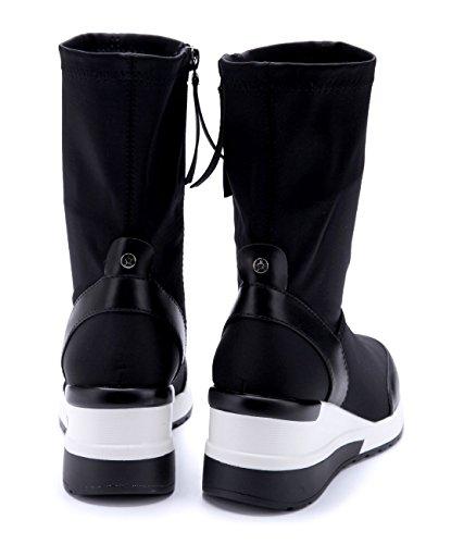 Schuhtempel24 Damen Schuhe Keilstiefeletten Stiefel Stiefeletten Boots Keilabsatz 7 cm Schwarz