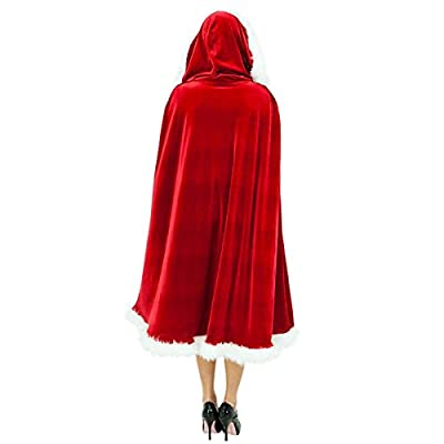 Quesera Women's Christmas Cloak Deluxe Velet Mrs Santa Hooded Cape Costume