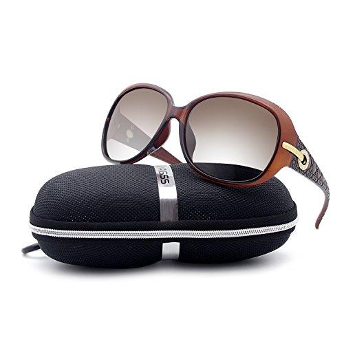 de Polarizadas para Sol Moda BVAGSS Protección Marrón UV WS045 Mujeres Gafas q5C6p1