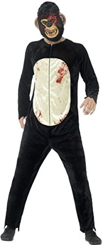Deluxe Zombie Chimp Costume Black Large Chest (Zombie Chimp Child Costumes)