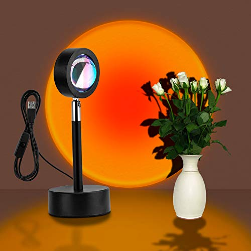Sunset Projection Lamp, Livelit Sunset Light with 180° Rotation LED Projector Lamp, USB Supply Lamp Night Light for Living Room Bedroom Party Home/Wall Decor