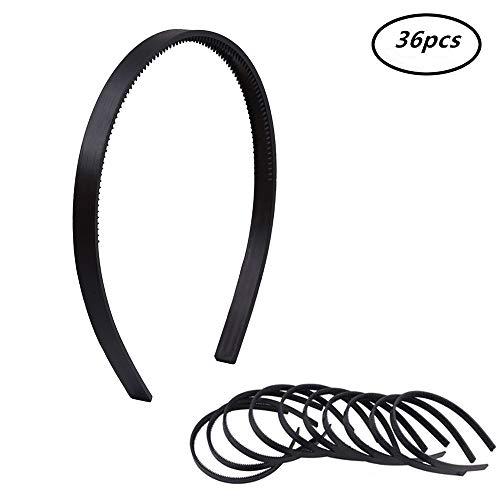 2/5(1cm) Width Womens Girls Plain with Teeth Plastic DIY Hair Accessories Headbands Headwears (Black) 36pcs Per Pack