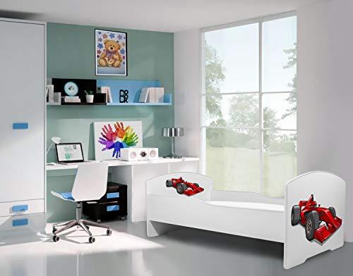 La cama infantil coche de carreras cama para ni/ños infantil el tama/ño 160x80 con el colch/ón
