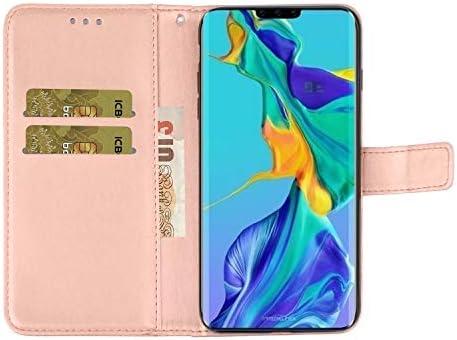 Docrax Huawei Mate30 Pro ケース 手帳型 スタンド機能 財布型 カードポケット マグネット ファーウェイMate30Pro 手帳型ケース レザーケース カバー - DOXCH010197 バラ色