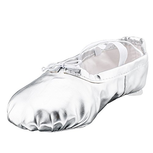 Girl's Pu Ballet Dancing Shoes with Split Soft Sole,Silver,Toddler 7M US