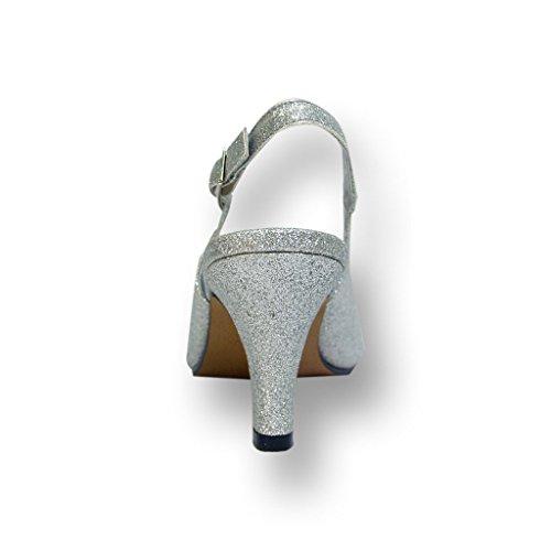 Floreale Fic Staci Donne Ampia Larghezza Peep Toe Pompa Del Vestito Per Il Matrimonio, Ballo Di Fine Anno (misura / Guida Alla Misurazione) Argento