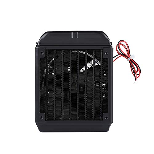 fosa 90mm 8 Tubes Thread CPU Cooling Water Row Heat Exchanger Fan, G1/4 Thread Water Cooling Radiator with Fan for Beauty Apparatus Industrial Equipment