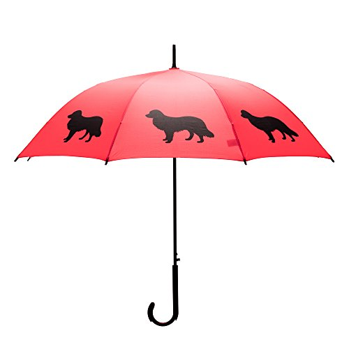 The San Francisco Umbrella Company Border Collie Stick Umbrella, Red/black