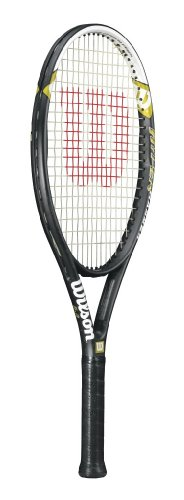 5.3 Strung Adult Recreational Tennis Racket (Black/White, 4 1/2) ()