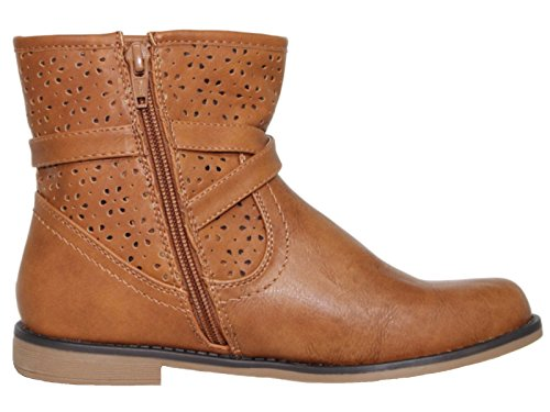 Faux 12 Chelsea Flat Zip Krush Kids Boots Ladies Biker Foster Tan Size Ankle Buckle Footwear Casual 8 Girls Leather Tan FwnqT