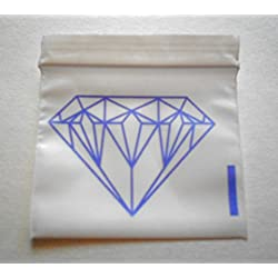 Small Poly Bags, Mini Plastic Baggies, Full Size Unique Image, Designer Rave Party Pouches (1520 - 2020 - 35325) Tiny Ziplock Dime Bag (100, 2x2 Purple on White (Diamond)