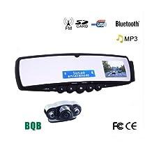 Kingzer Car Rearview Mirror Bluetooth Speaker Backup Camera MP3 FM Transmitter HandsFree