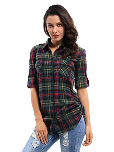 OCHENTA Women's Long Sleeve Button Down Plaid Flannel Shirt D002 Christmas Green XL