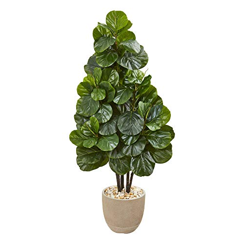 Nearly Natural 9381 58-in. Fiddle Leaf Fig Artificial Sand Stone Planter Silk Trees, - Silk Fig Trees