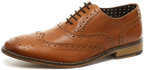 London Brogues Gatsby Leder Herren Halbschuhe Tan