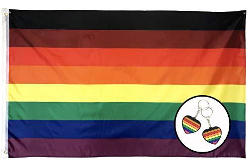Gala Supplies LGBTQ Gay Lesbian Pride Rainbow Flag | Philly/Philadelphia New 8 Stripes Black & Brown, 3ft x 5ft Polyester, Be Proud Flag (1)