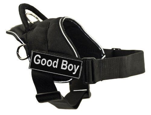 Dean & Tyler Fun Harness, Good Boy, Black with Reflective Trim, XX-Small, Fits Girth Size  18-Inch to 22-Inch