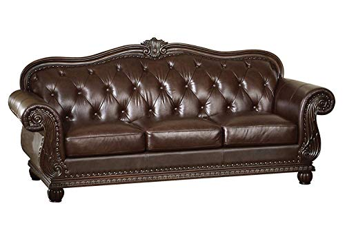ACME 15030 Top Grain Leather Sofa, Dark Brown Leather