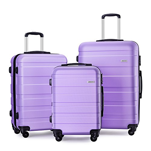 Luggage Set Spinner Hard Shell Suitcase Lightweight Carry On – 3 Piece (20″ 24″ 28″) (Light purple)