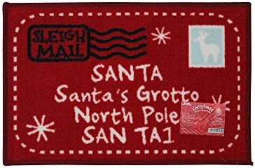 JVL Festive Christmas Machine Washable Latex Backed Door Mat, Rudolf , Red, 40 x 60 cm