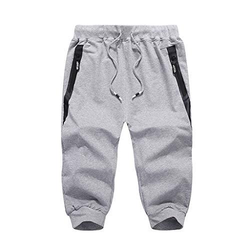 (OrchidAmor 2019 Men's Boys Summer Fashion Casual Solid Swag Comfort Sports Beach Happy Vacation Calf-Length Pants Gray)