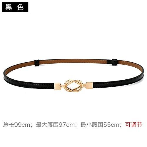Cuero fina correa moda vestido decoración cinturón cintura cadena Negro: Amazon.es: Deportes y aire libre