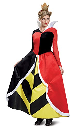 Disguise Women's Queen of Hearts Deluxe Adult Costume, red, L (12-14) -