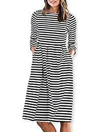 52bd9bcd420 Women Casual Cotton Mid Pleat Dress 3 4 Sleeve O-Neck Stripes Dresses with