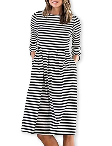 AOOKSMERY Women Casual Cotton Mid Pleat Dress 3/4 Sleeve O-Neck Stripes Dresses with Pocket Black White (White And Black Striped Long Sleeve Dress)
