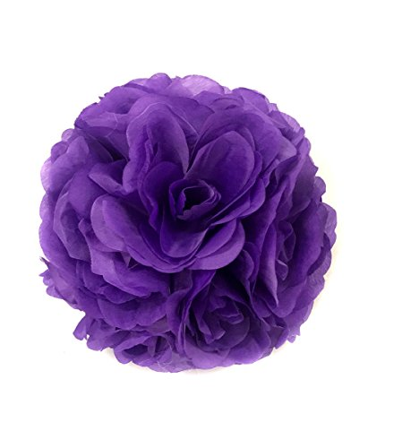 (Ben Collection 10 Pack of Fabric Artificial Flowers Silk Rose Pomander Wedding Party Home Decoration Kissing Ball Trendy Color Simulation Flower (Purple, 20cm))