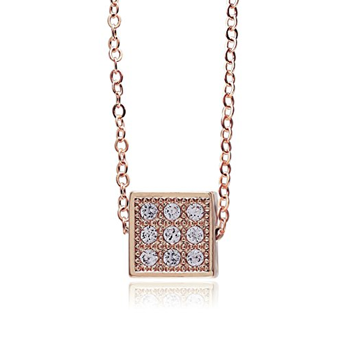 CHUANGYUN Exquisite Tiny Diamond cubes classy Pendant Necklace Fashion Jewel for Women (rose gold)