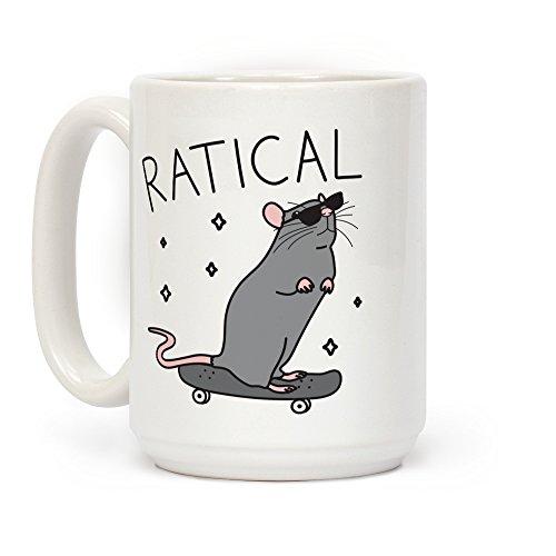 Mug White Rat - LookHUMAN Ratical Rat White 15 Ounce Ceramic Coffee Mug