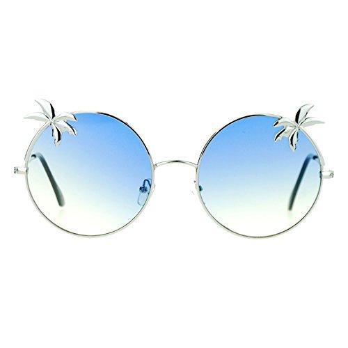 SA106 Retro Unique Palm Tree Trim Gradient Color Hippie Round Sunglasses Silver - Sunglasses Trees With Palm
