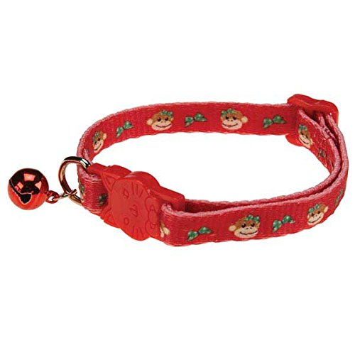 East Side Collection Polyester Holiday Monkey Business Cat Collar, 8 to 12-Inch, - Tiff Cat