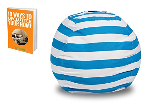 Stuffed Animal Storage Bean Bag Chair - Premium Cotton Canvas - Great for Decluttering the Room - Sit and Stuff Storage Bean Bag, Stuffed Toys, Clothes, Sheets, Towels | FREE E-BOOK (Blue and White) by HSE