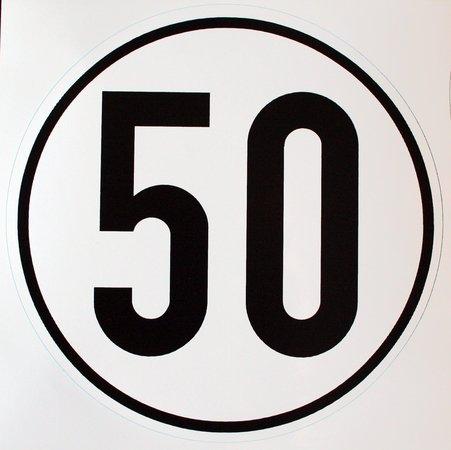 Geschwindigkeitsschild 50 km/h, Hinweisschild fü r Kraftfahrzeuge (zulä ssige Hö chstgeschwindigkeit), Aluminium, Durchm. 200 mm, zur Anbringung an das Fahrzeug 50 km/h Unbekannt