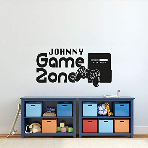 Jiesa Quotes Wall Sticker Mural Decal Art Home Decor Gamer Custom Name Playground Game Controller Video Kids Bedroom ()