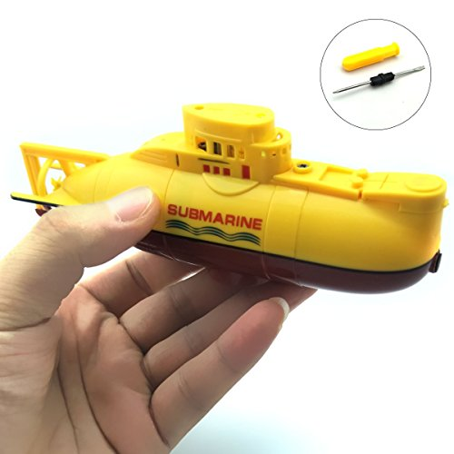 EUDAX Mini RC Water Boat Toy Remote Control Boat Plastic Model Submarine Ship Electric Toy Waterproof Diving in Water Indoor Toys for Fish Tank Pools Kids Gift (Yellow) (Miniature Submarine Toy)