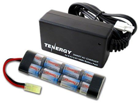 Tenergy Airsoft Battery High Capacity 9.6V 1600mAh NiMH Flat Battery Pack w/Mini Tamiya Connector for Airsoft Gun + 8.4V-9.6V NiMH Battery Charger w/ Mini Tamiya Connector and Standard Tamiya Adaptor