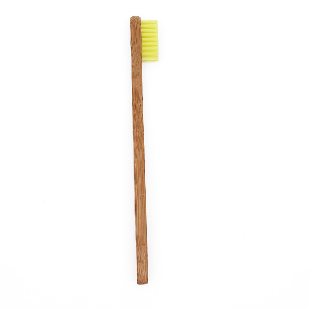 Bamboo Toothbrush for Kids Eco-Friendly biodegradable Bamboo Handles and BPA-Free Nylon Bristles For Natural Dental SoniFox 8Pcs Yellow Color by SoniFox (Image #4)