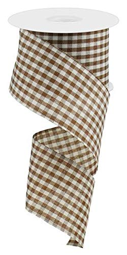 - Primitive Gingham Check Wired Edge Ribbon, 10 Yards (Brown, Ivory, 2.5