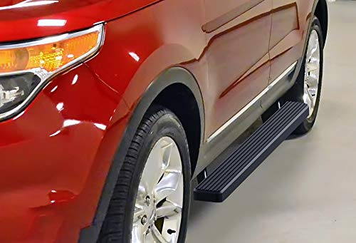 APS iBoard (Black Powder Coated 4 inches) Running Boards | Nerf Bars | Side Steps | Step Rails for 2011-2019 Ford Explorer Sport Utility 4-Door