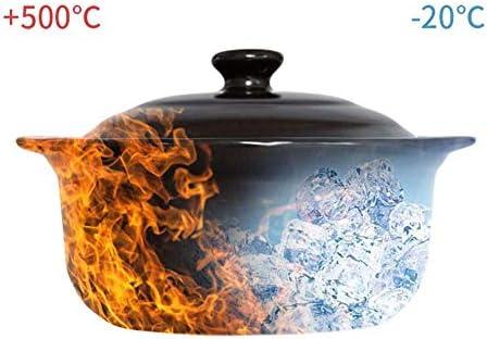 UWY Pot à ragoût Ustensiles de Cuisine en Terre Cuite - Casserole Pot à ragoût Soupe Domestique Soupe Grande Casserole Casserole en céramique à Haute température-1.8L