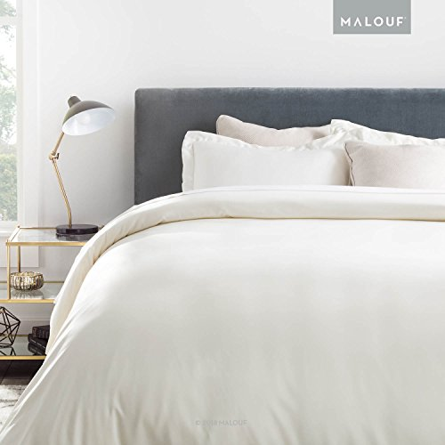 (MALOUF Woven Rayon from Bamboo Duvet Set - Best Fitting Duvet Cover - 8 Corner and Side Loops - King - Ivory)