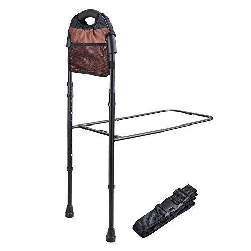Adjustable Height Bed Rail Handle with Storage Pocket Safety Assist Bar Grab Bar