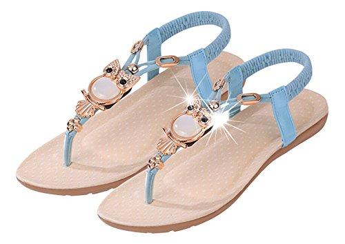 avec JDS® Lanières Strap Nouveau Design T Strass Plates Bleu Sandales Élégant Fortuning's 6zSw6