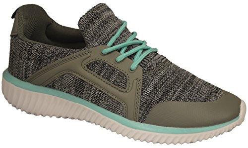 Shop Pretty Girl Womens Sneakers Athletic Knit Mesh Running Light Weight Go Easy Walking Casual Comfort Running Shoes 2.0 (10, Green and Grey - J3947B) by Shop Pretty Girl