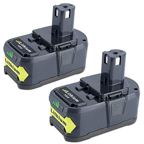Biswaye 2 Pack 5000mAh 18V Lithium Battery P108, Replacement for Ryobi 18-Volt ONE+ Cordless Power Tools Battery P122 P102 P103 P104 P105 P107 P108 P109 P100