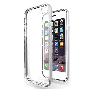 """Funda iPhone 6 / 6s (4.7"""") Azorm Hybrid Edition Plata - Bumper con Efecto Metálico Plata, Resistente a los arañazos en su parte trasera, Amortigua los golpes [SE INCLUYE UN PROTECTOR DE PANTALLA Y UNA BAYETA LIMPIADORA] Funda protectora anti-golpes para iPhone 6, iPhone 6s"""
